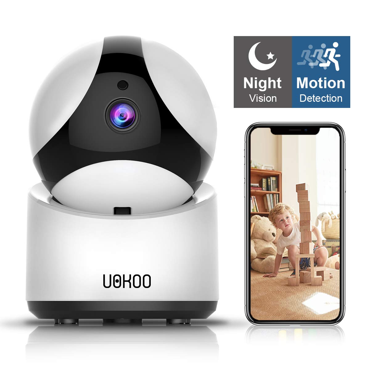 Night Vision and Two Way Audio Baby//Pet Monitor and Nanny Cam Pan//Tilt Wireless Security Camera HD Home Security Surveillance WiFi Camera with Motion Detection
