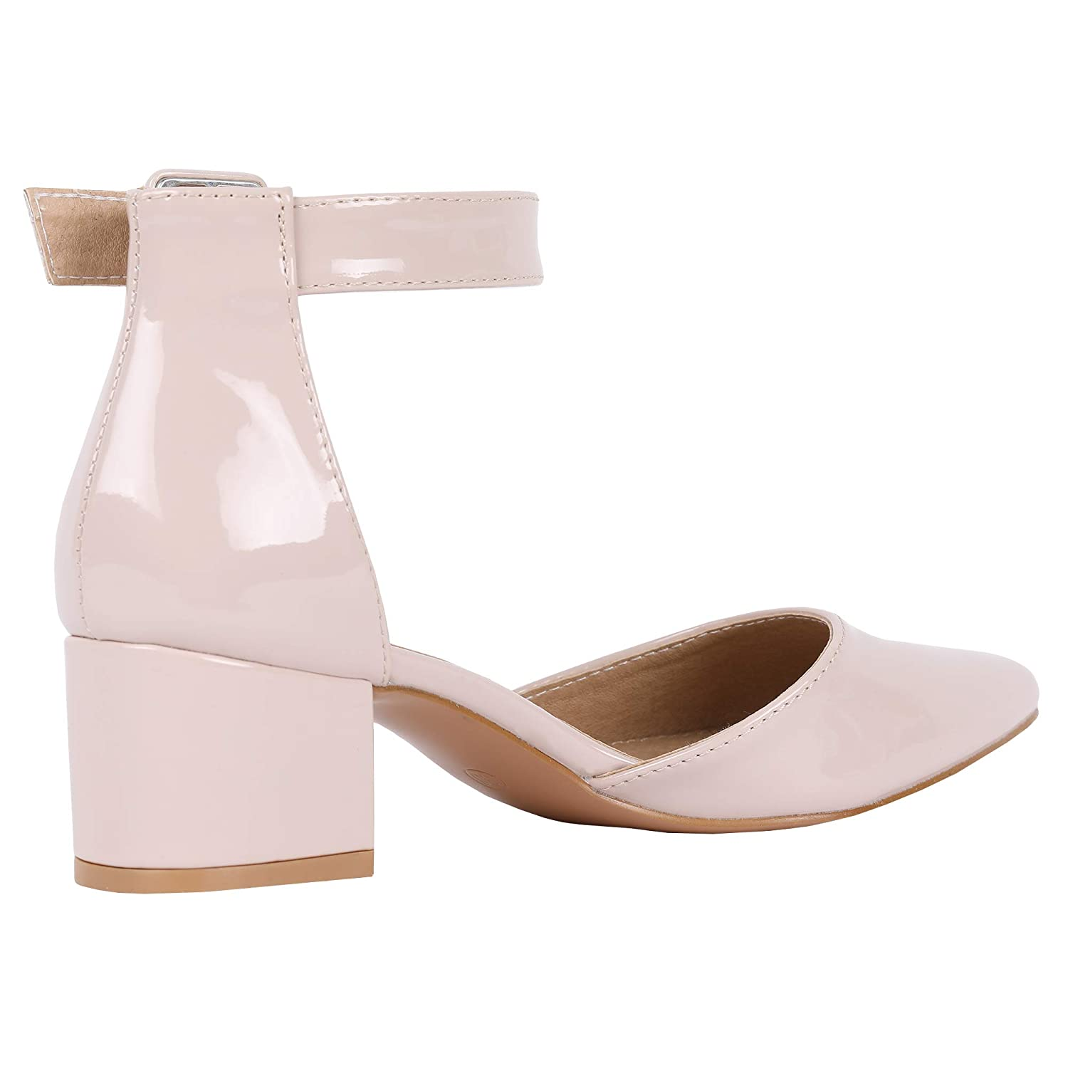 LAICIGO Women/'s Ankle Scalloped Strap Buckle Pump Sandals Pointed Toe Chunky Heeled Shoes