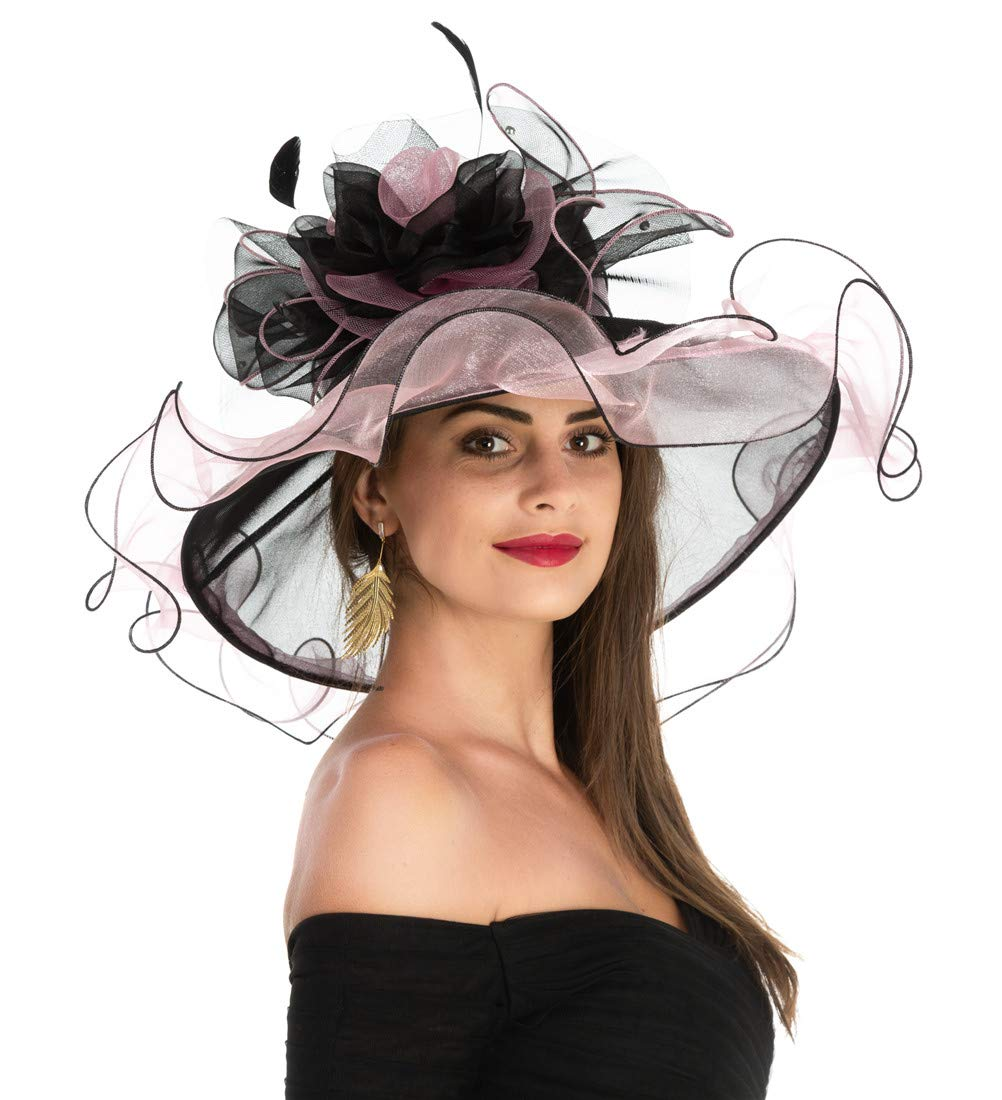 Women's Organza Church Kentucky Derby British Fascinator Bridal Tea Party Wedding Hat Summer Ruffles Cap(F1-Black Pink Flower)
