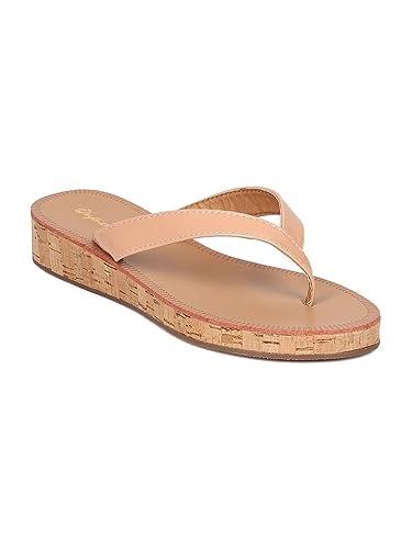faf140ecbc25 Women Patent Leatherette Cork Low Wedge Thong Sandal GF65 - Blush (Size   5.5)