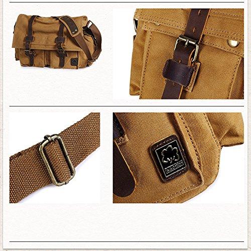 Angleliu Herren Messenger Bag Top Qualität Männer Leinwand Schultertasche Umhängetasche Kuriertasche Canvas Laptop Tasche Messenger Bag für Arbeit und Schule. Gelb