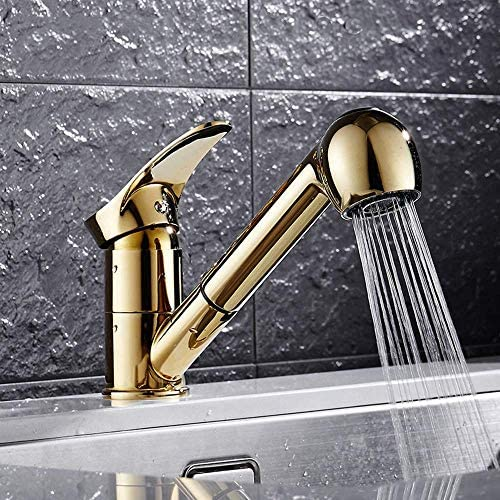 立体水栓 蛇口 現代ゴールデンキッチンシンク洗濯食器洗い機の蛇口浴室洗面台の上カウンター盆地実用的な美しいロータリーホットとコールド蛇口を引っ張ります 万能水栓 台付