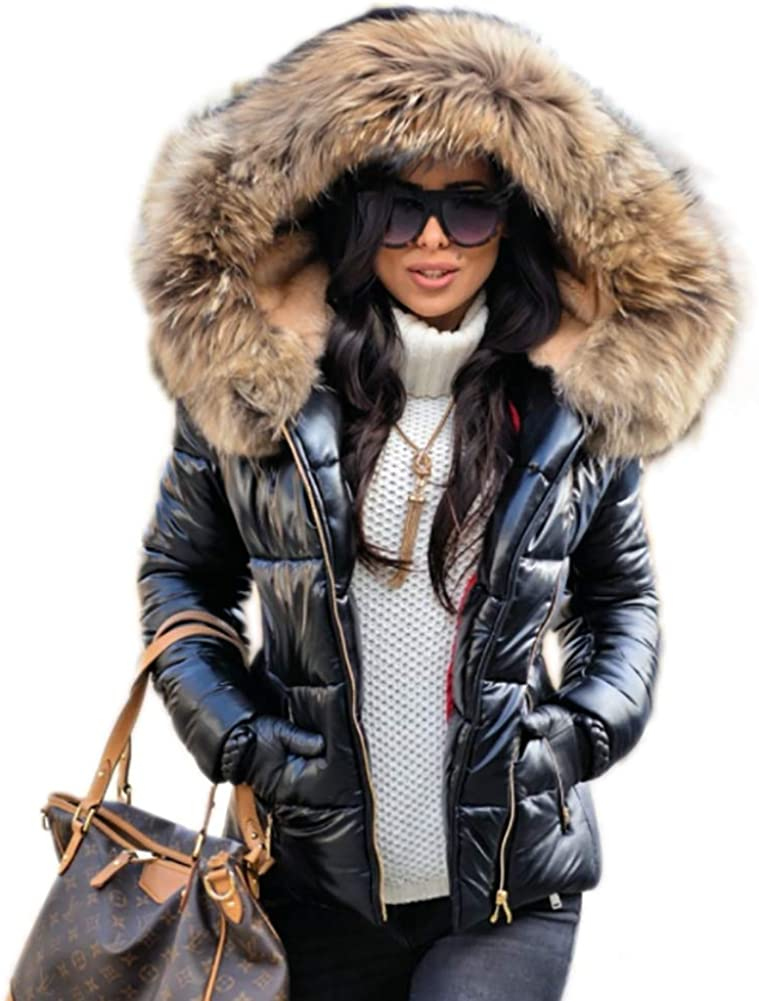 Womens Ladies Padded Quilted Puffer Fur Collar Zip Jacket Coat Size 8-20 New