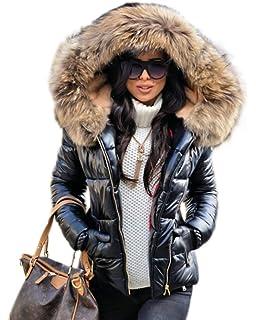 1561355531f Aox Women Winter Faux Fur Hood Down Coat Lady Thicken Puffer Slim Zipper  Jacket Parka