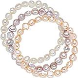 Valero Pearls Juego de 3 Pulseras Perlas de agua dulce Blanco Albaricoque Lila - Plata de ley / esterlina 925 60201783