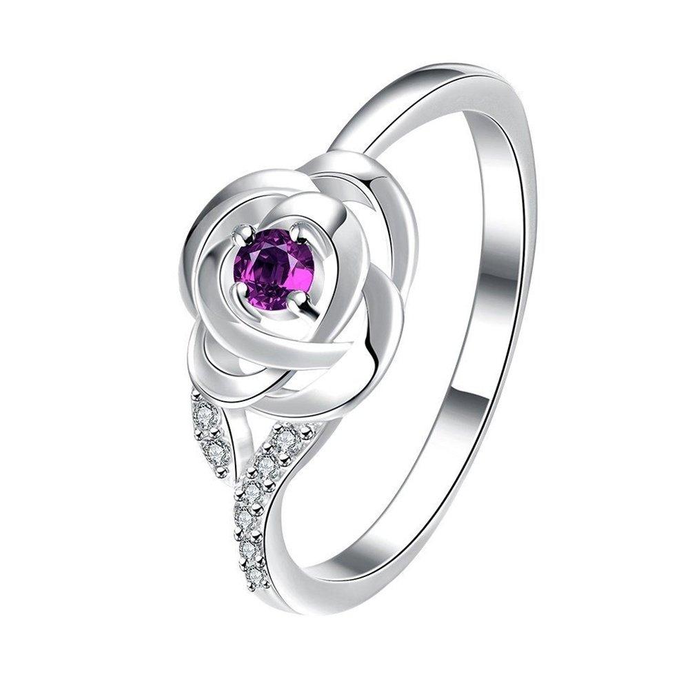 super1798 Women Fashion Cubic Zirconia Rose Flower Engagement Wedding Ring Jewelry Gifts - Purple 10