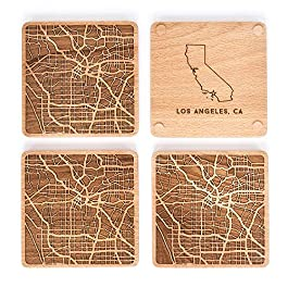 Greenline Goods Beech Wood Coasters Etched Wooden Coaster Set for Los Angeles Lovers   Set of 4   Etched with Los…