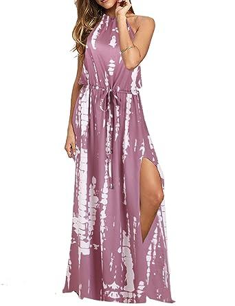 d436ac2f01c BMJL Women s Dresses Adjustable Waist Backless Halter Neck Split Tie Dye  Sleeveless Maxi Beach Boho Cocktail