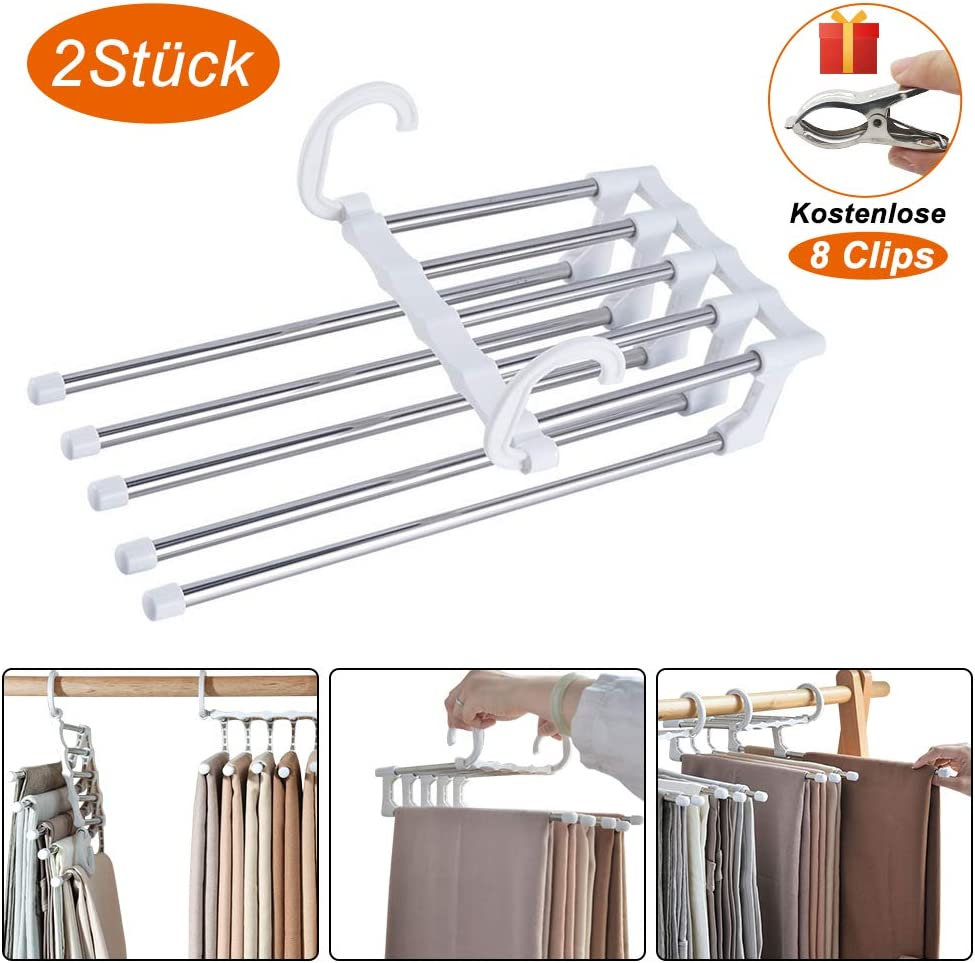White Jeans Clothes Hangers Closet Organiser TUOWEI 2 Pack Trouser Hangers Space-Saving Multi-Purpose Extendable Stainless Steel Trousers Hangers Foldable Space Saving Trouser Stand