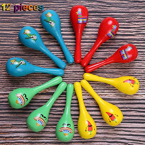 Ruisita 12 Pieces Mini Wooden Maracas Colorful Mini Neon Maracas With 4 Different Styles For Mexican Fiesta Party Favors Classroom Musical Instruments