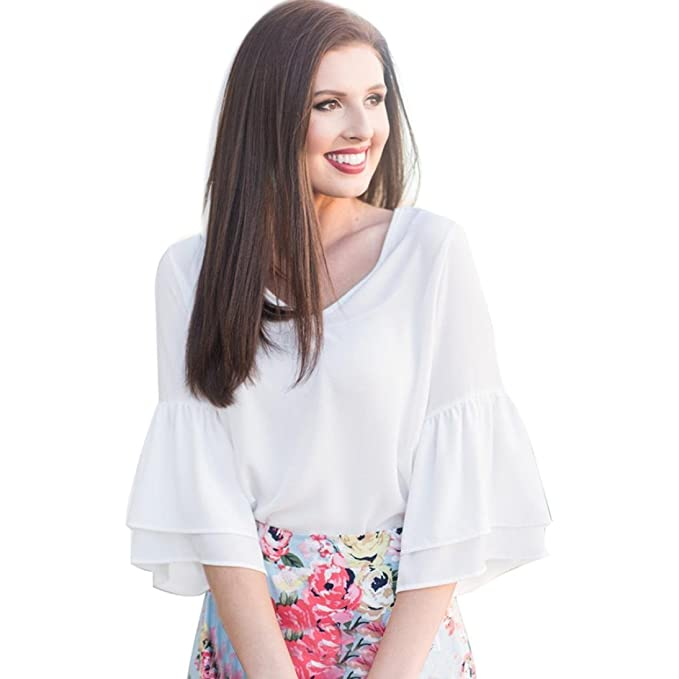 2d89e8e675ea33 Alixyz Summer Chiffon Tops Women Casual Short Sleeve Blouse Loose Bell  Sleeve T-Shirt (