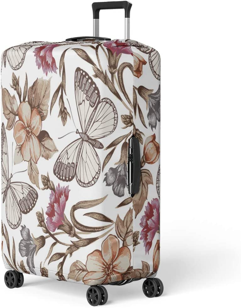 Pinbeam Luggage Cover Red Vintage Butterflies Flowers Beautiful Butterfly Pattern Antique Travel Suitcase Cover Protector Baggage Case Fits 18-22 inches