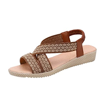 32ae31ca49afd Image Unavailable. Image not available for. Color  Women Elastic Ankle  Strap Flat Sandals Summer Thong T-Strap Bohemian Rhinestone Slip On Flip