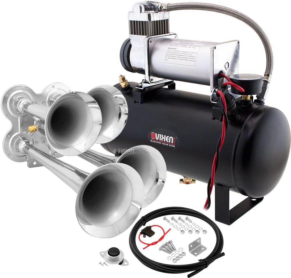 Vixen Horns Loud 149dB 4/Quad Chrome Trumpet Train Air Horn with 2 Gallon Tank and 150 PSI Compressor Full/Complete Onboard System/Kit VXO8560/4114C