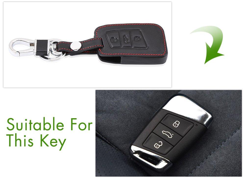 Car Leather Key Fob Case Bag Key Chain Ring Cover For Volkswagen VW Passat B8 CC 2017//Tiguan 2016 2017 Skoda Superb A7 Car accessories