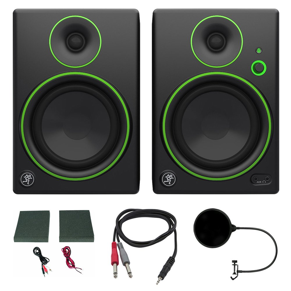 Mackie CR5BT CR Series Channel Studio Monitor (Pair) w/Pro DJ Bundle Includes, 3-feet 1/8 TRS Male to Two 1/4 TS Male Cable & Universal Pop Filter Microphone Wind Screen w/Mic Stand Clip