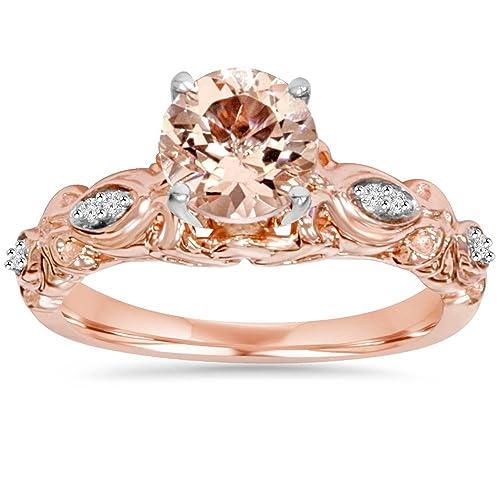 1 Carat Morganite Diamond Vintage Ring 14K Rose Gold