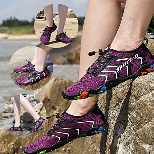 Shoes Mens Yoga Pool Shoes Socks Beach Quick Purple Swim ASLISA Aqua On Surf 2 Slip Womens Water Dry BdqvtO