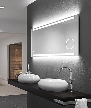 LED-Spiegel Talos King–Warmweiß beleuchteter Spiegel für Badezimmer ...