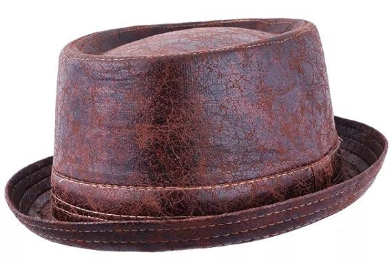 Maz Cracked Leather Distressed Vintage Pork Pie Hat - Brown  Amazon ... 5d9782b64a2