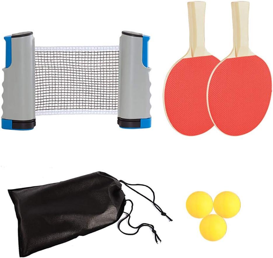 TopHGC Juego de Tenis de Mesa, 2 Tenis de Mesa 3 Pelotas de Ping-Pong 1 paletas de Tenis Rack retráctil Abrazadera con Clip Escuela Inicio Oficina del Club Deportivo (Negro)