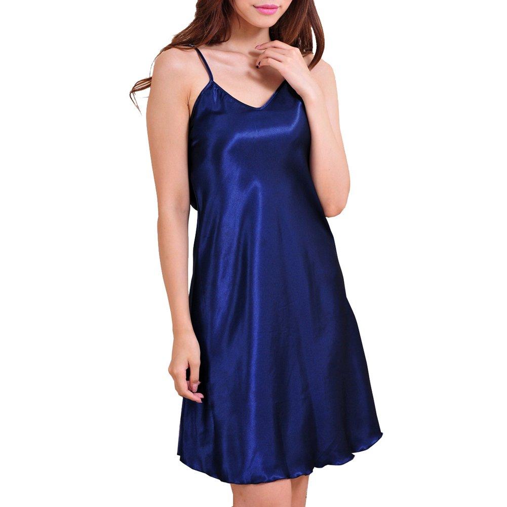 iBaste Nachthemd Sleepwear Satin Lingerie Einfarbig Unterkleid Unifarben S-XXXL NVJJ0005