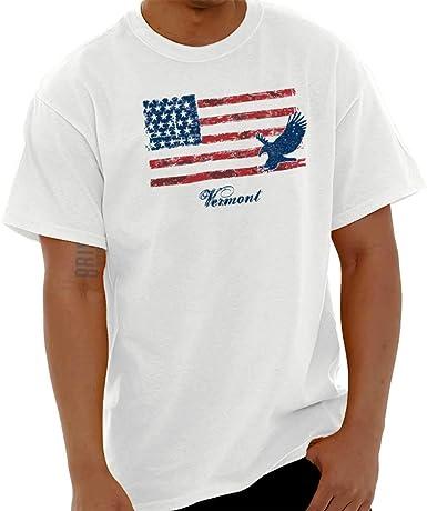 Vermont USA - Camiseta de Manga Corta, diseño de Bandera Estadounidense, Color Blanco: Amazon.es: Ropa y accesorios