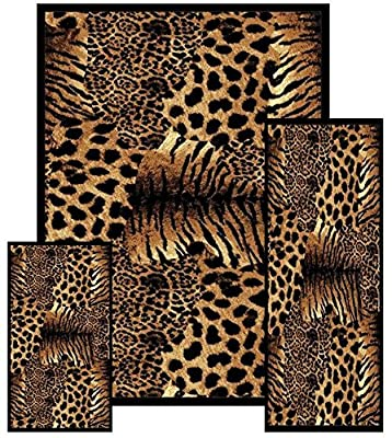 Southwestern Zebra Skin Animal Safari Area Rug 3 Pieces Set 2' X 3', 2' X 6', 5 X 8'