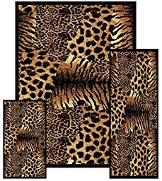 Southwestern Zebra Skin Animal Safari Area Rug 3 Pieces Set 2\' X 3\', 2\' X 6\', 5 X 8\'