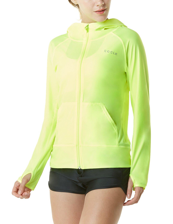 TSLA Women's UPF 50+ Full & Half Zip Front Long Sleeve Top Rashguard Swimsuit, Sun Block Zip Hoodie(fsz02) - Neon Yellow, Large by TSLA