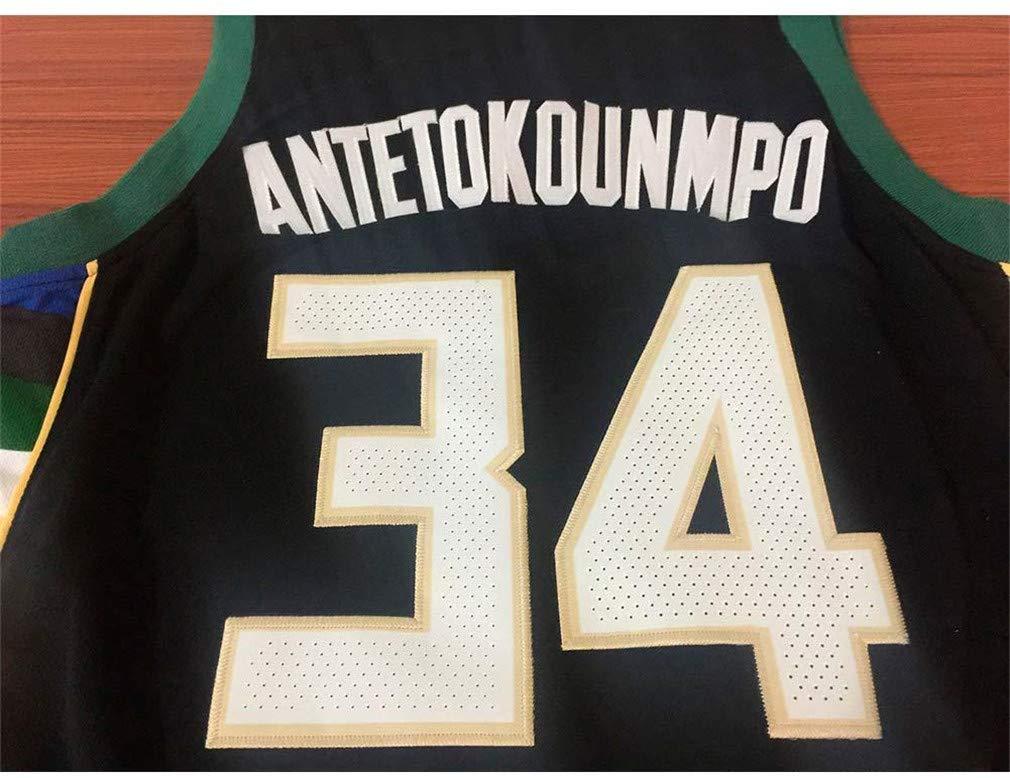 Ricamo Traspirante e Resistente allUsura T-Shirt NBA Milwaukee Bucks #34 Giannis Antetokounmpo Maglia Giocatore di Basket Maglia da Uomo