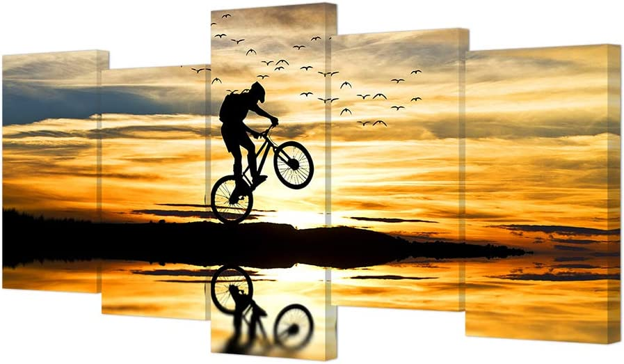 VVOVV Wall Decor - Mountain Bike Racing Canvas Wall Art Bike Jump Poster Giclee Prints Extreme Sports Pictures Modern Sunset Painting Framed Landscape Artwork