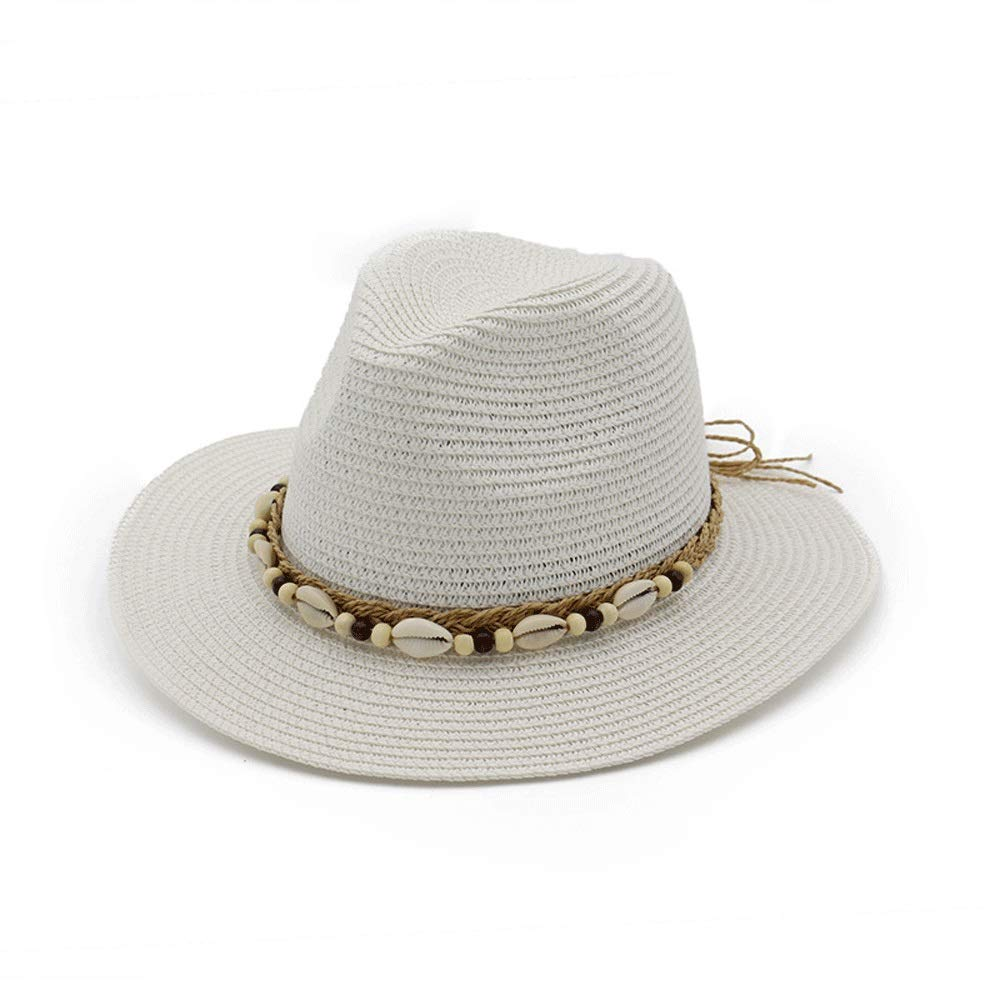 TRDyj Visor British Wind Jazz Straw Hat Spring and Summer Ladies Sun Visor Woven Breathable Sun Hat Travel Cap (Color : White)