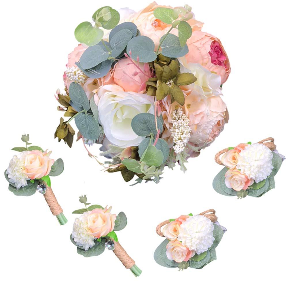 Rose Peony Wedding Bride Bouquet Bridesmaid Corsage Brooch Pin Rhinestone Décor