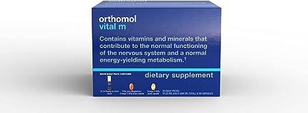 Orthomol Vital M Vial, Men's Multivitamin, 30-Day Supply, Vitamins A, B, C, D, E, K, Iodine, Omega-3