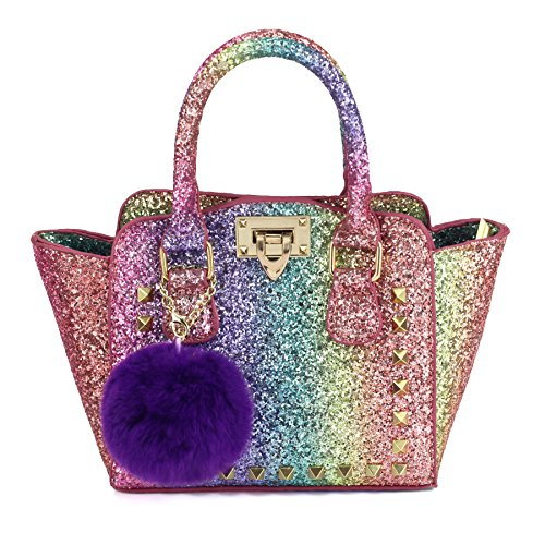 Handbag Purse Girls (CMK Trendy Kids My First Shinny Glitter Rainbow Purse for Little Girls Toddlers Mini Tote with Poms (80003_Rainbow))