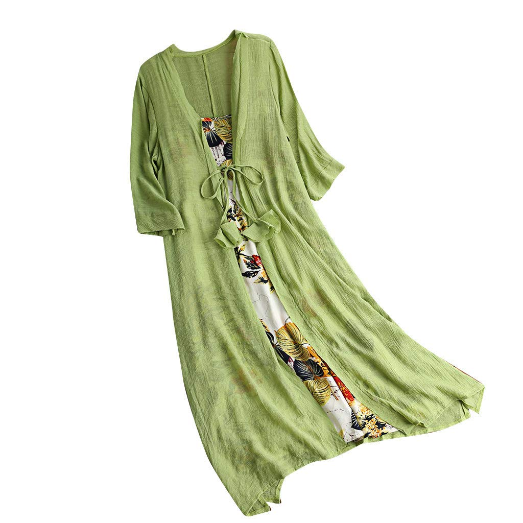 Weant Womens Dress Outfits Plus Size Vinatge Two Piece Casual Floral Dress Linen Cover Up Summer Beach Sundress for Ladies Teen Girls Casual Holiday Long Dress Evening Party Dress M-5XL