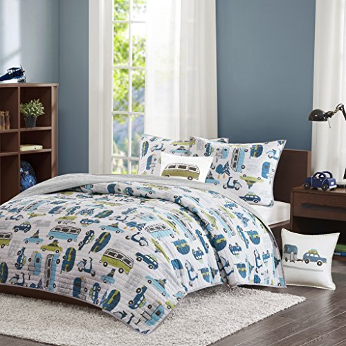 INK+IVY Kids Road Trip Full/Queen Bedding Sets Boys Quilt Set - White Blue, Car – 4 Piece Kids Quilt for Boys – 100% Cotton Quilt Sets Coverlet