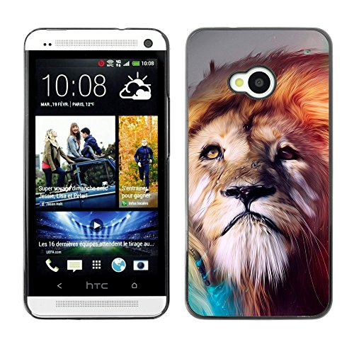 Soft Silicone Rubber Case Hard Cover Protective Accessory Compatible with HTC ONE M7 2013 - Lion abstract Majestic Cat