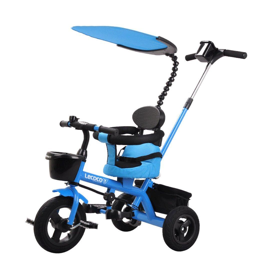 ZXUE Carro de Triciclo para Niños 1-5 Bicicleta de Pedal para Carro de bebé (Color : Azul)