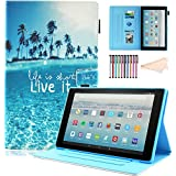 Motie Case for All-New Amazon Fire HD 10 Tablet (7th Generation, 2017 Release) - Cute Pattern [Multi-Angle Viewing] [Auto Wake Sleep] Leather Full Protective Cases and Covers, Live it