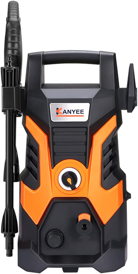 KANYEE 1500 PSI 1.35 GPM Portable Electric High Pressure Washer with Spray Gun, Adjustable Nozzle, Angle Nozzle, Detergent Bottle, for Cleaning Cars, Houses Driveways, Patios