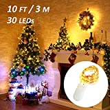 Ustellar 16 Pack 10ft 30 Micro Starry LED String Lights, Waterproof Fairy Copper Wire Lights, Firefly Moon Lights Battery Operated (Included), For DIY Wedding Party Christmas Decorations, Warm White