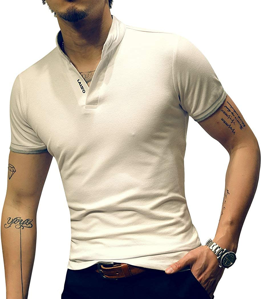 LOGEEYAR Mens Fashion Short-Sleeve Slim Fit Pique Polo Shirt Cotton Clothes Henley T-Shirts