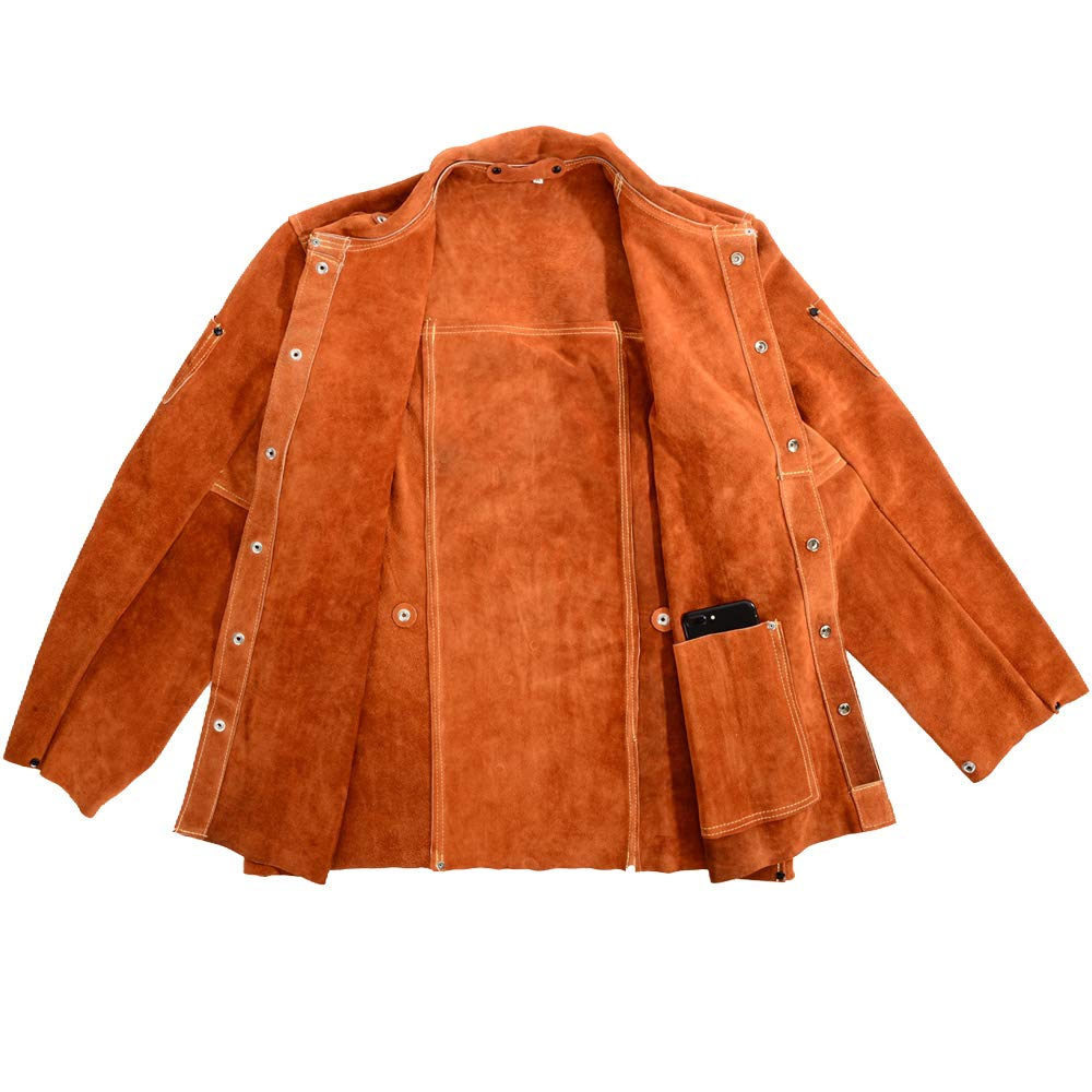 QeeLink Leather Welding Work Jacket Flame-Resistant Heavy Duty Split Cowhide Leather (Large) Brown by QeeLink (Image #5)