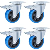 4 stuks 100 mm zwenkwielen met 4 rem van polyurethaan, met een draagkracht van 450 kg, geschikt voor een groot aantal…