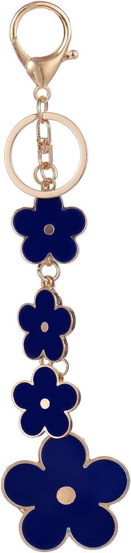 White Handcraft Genuine Leather Keychain Floral Flower Handbag Purse Clasp Charm
