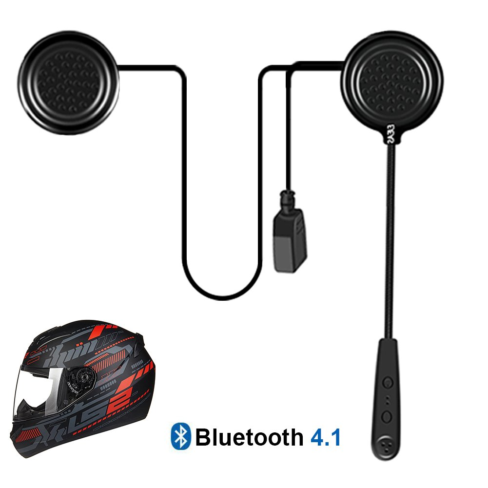 EJEAS Motorcycle Helmet Bluetooth Headset E1 Intercom Speakers Headphones Communication Systems for Motorbike