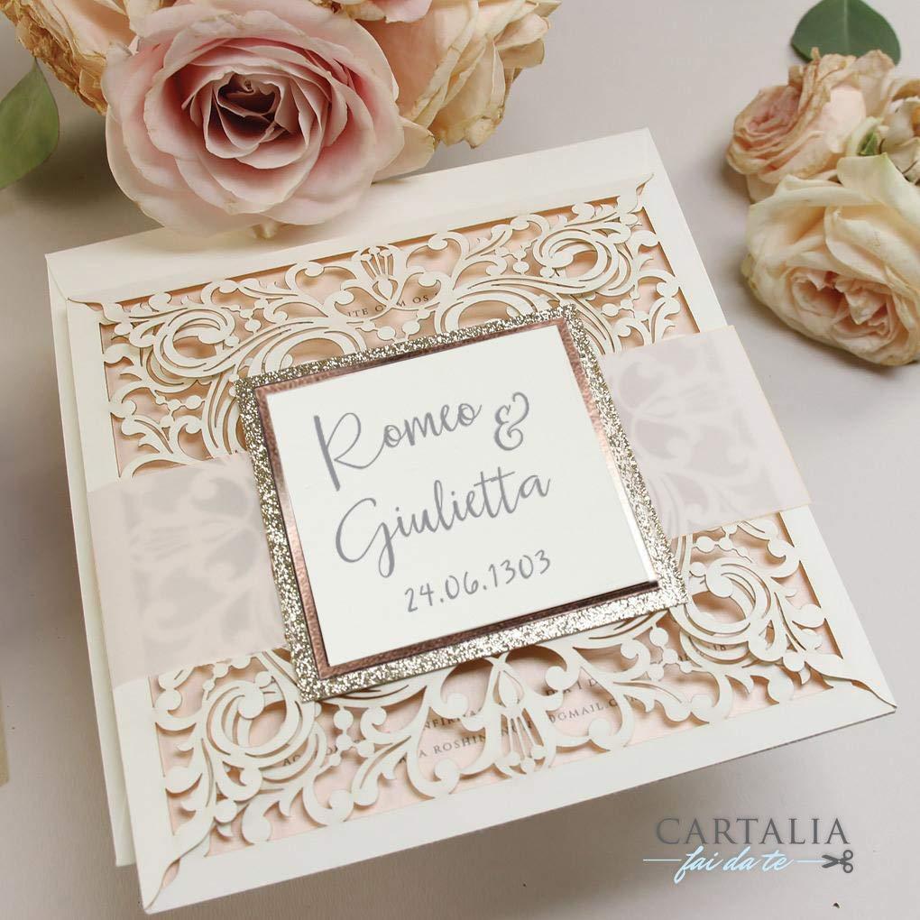 Partecipazioni Matrimonio Glitter.Partecipazioni Matrimonio Fai Da Te Shabby Chic Glitter Rose Oro
