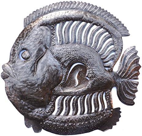 Handmade Haitian Metal Art Fish Under Water, Home Decor 23 x 23 Inches